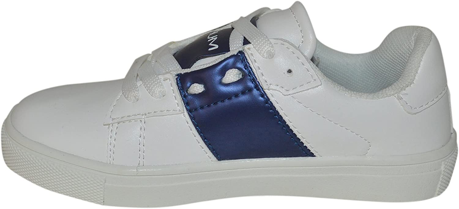 White/_Navy BUM Equipment Kids /& Youth Contrast Color Band Fashion Eyelet Lace Shoes