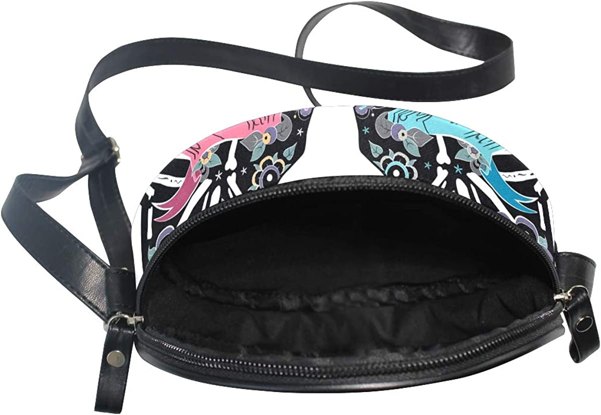 KEAKIA Colorfull Cats Skull Bones Round Crossbody Bag Shoulder Sling Bag Handbag Purse Satchel Shoulder Bag for Kids Women