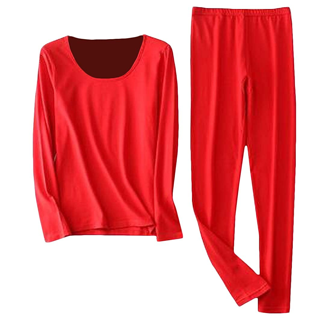 Sweatwater Womens Plus Size Casual Base Layer Solid Thermal Underwear Sets