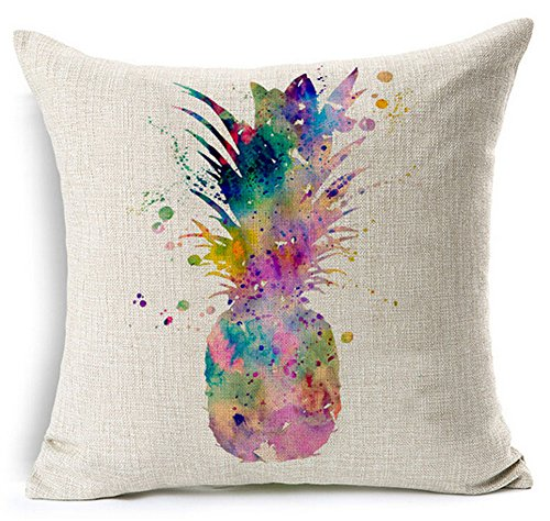 Colorful Splash-ink Painting Abstract Fresh Fruit Pineapple Cotton Linen Throw Pillow Case Cushion Cover Home Office Decorative Square 18 X 18 Inches