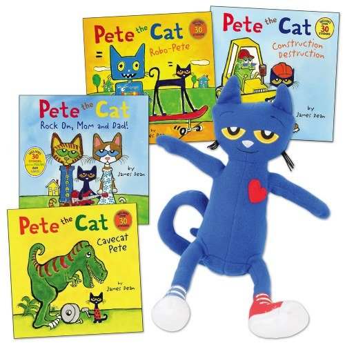 Pete The Cat Doll (Kaplan Early Learning Company Pete The Cat Doll and 4 Paperback Book)