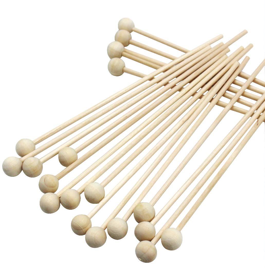 6''(15CM) Length Wood Sucker Lollipops Cake Pops or Rock Candy Swizzle Sticks with Ball End Wooden Pop Sticks 100Pcs by Heeler (Image #4)