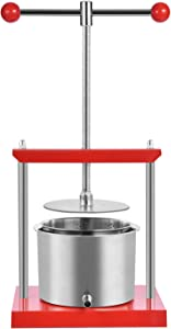 Frifer Fruit Wine Manual Press, 1.6 Gal/6 Litre Cheese Tincture Herb Apple Press, Manual Juice for Carrot & Orange & Berry, Stainless Steel Making for Juice, Cider, Wine (Manual Press, 1.6 Gal)