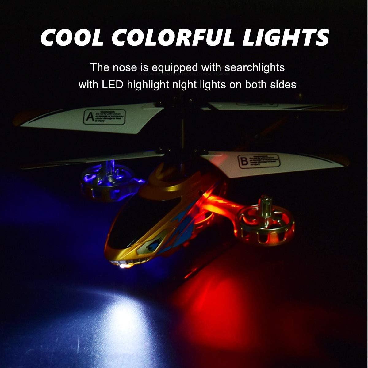 2,4 GHz Regalo para Ni/ños XIAOKEKE Helic/óptero Teledirigido Teledirigido con Mando A Distancia para Interior Y Exterior 3,5 Canales Luz LED Girosc/ópica,Oro