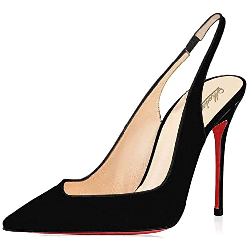 bfa5a2084d40 Modemoven Women s Black Suede Red Soles Leather Pumps