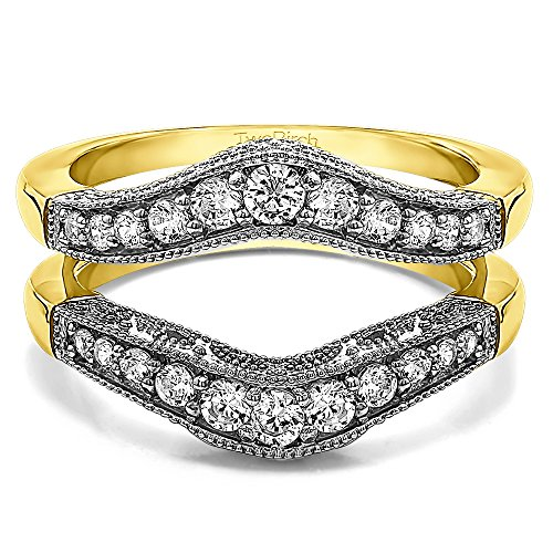 Sterling Silver Vintage Style Filigree and Milgraining Contour Ring Guard Diamonds G,I2 (0.75 ct. tw.)