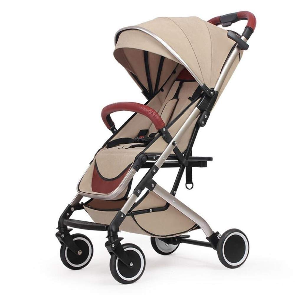 MXYBD Baby Cart 2 in 1 Pram with Car Seat High Landscape for Newborns Travel System Foldable Baby Carriage Trolley Walk (Color : Brown) by MXYBD