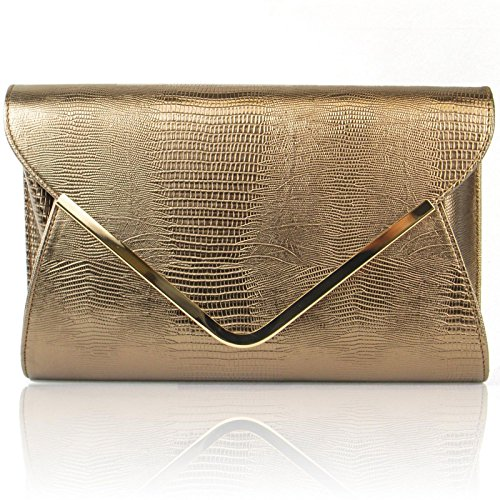Zarla Black Clutch Ladies Party Grey Ivory Green Evening Red Bags Pink CROC Bronze Bridal HrxSqH