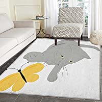Grey and Yellow Area Rug Carpet Cat Pet Feline Best Friend Playing with Spring Butterfly Print Customize door mats for home Mat 4x6 Black Marigold and Grey
