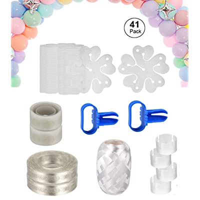 Balloon Arch Garland Decorating Strip Kit -2 Rolls Balloon Decorating Strip, 2pcs Balloon Tying Tool, 2 Rolls 100 Dot Glue, 30pcs Flower Clips 4pcs Ring Clips for Party Supplies Decorations (41 Pack): Toys & Games