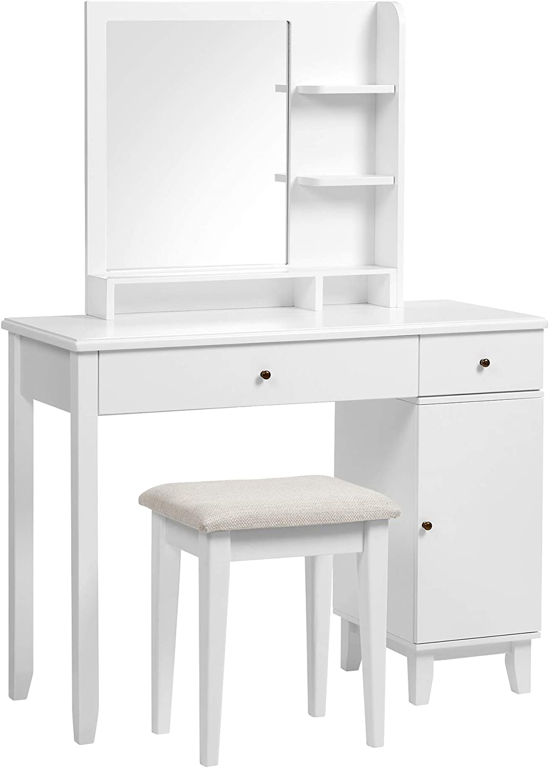 VASAGLE Vanity Set, Dressing Table Set with Mirror, Open Shelves, Large Table Top, 2 Drawers, a Cabinet, Cushioned Stool, Solid Wood Legs, Gift Idea, for Bedroom, White URDT174W01
