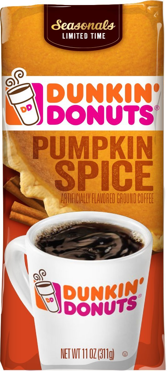 Dunkin' Donuts Pumpkin Spice Flavored Ground Coffee, Seasonal Limited Time, 11 Ounce (Pack of 6) by Dunkin