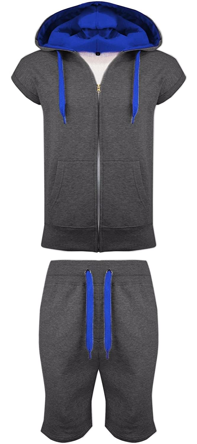 Parsa Fashions Malaika® Mens Fleece Gilet Sleeveless Hooded Tracksuit Full Zip Up Contrast Cord Brushed Hoodie Jogging Joggers Gym Suit Top Shorts Workout Training (Small to XXL)