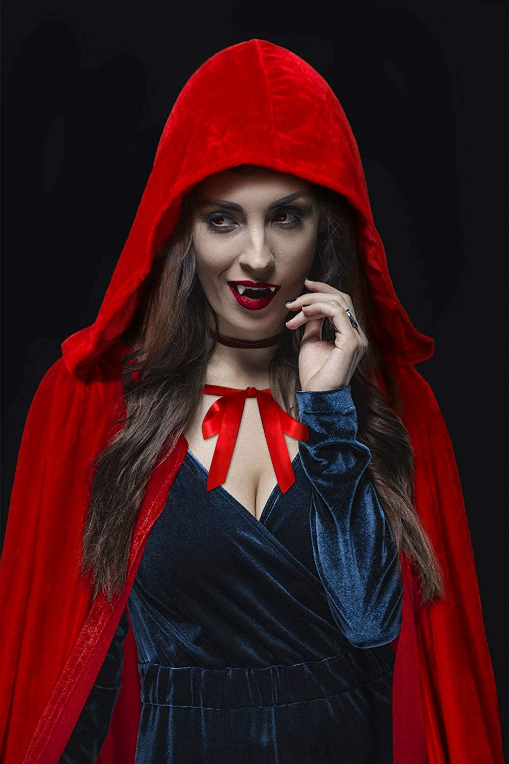 BengPro Adult Women Men Costume Hooded Velvet Cloak Cape Deluxe Full Length Halloween Cosplay Devil Witch Wizard Robe 64inch (A Red): Clothing