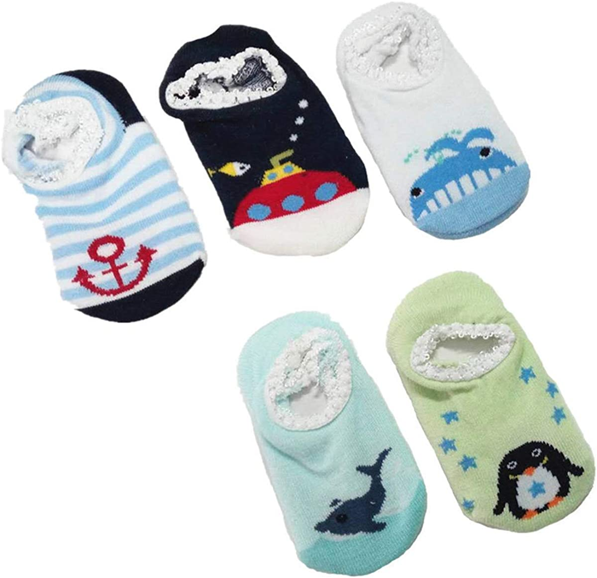 1 Pairs Infant Baby Girls Boys Stripe Comfortable Socks Anti-Slip Slipper Socks