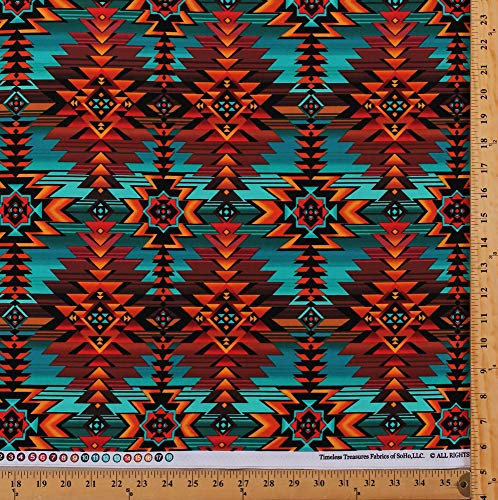Cotton Southwestern Native American Aztec Tribal Diamond Stripes Southwest Turquoise Rust-Red Brown Geometric Patterned Cotton Fabric Print by The Yard -