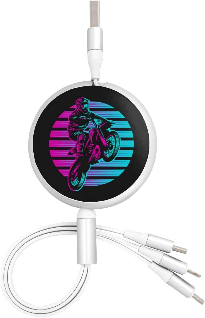 Motocross Sunset Retro 3 in 1 USB Multi Function Charging Cable Data Transmission USB Cable for Mobile Phones and Tablets Compatible with Various Models with Storage Bag