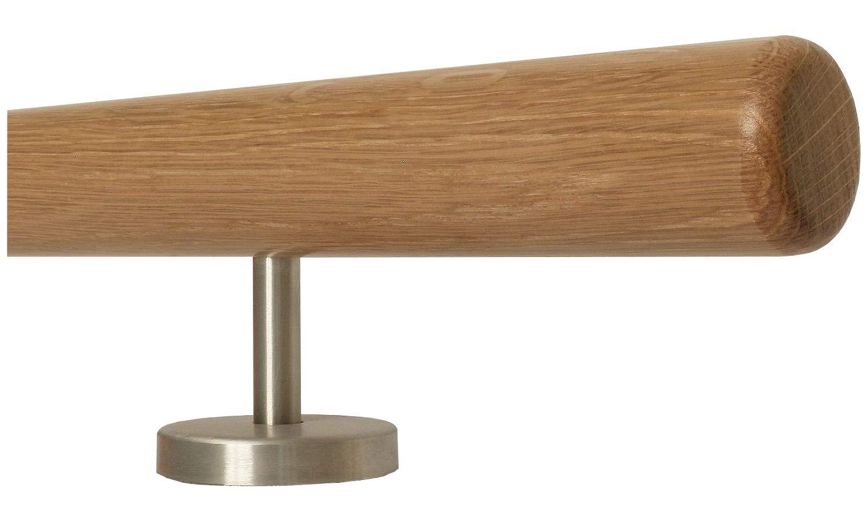 longitud 30 mango recto Barandilla de madera de roble soporte de acero inoxidable de una sola pieza 500 cm