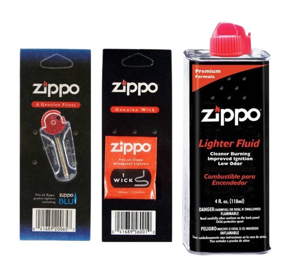 Zippo Fuel Fluid 1 Flint & 1 Wick Value Pack Combo Set, 4 oz