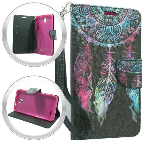ZTE Sonata 3 Chapel Z831 case ( Cricket ), Luckiefind Premium PU Leather Flip Wallet Credit Card Cover Case, Stylus Pen, Screen Protector & Wiper Accessories (Wallet Fantasy Flower)