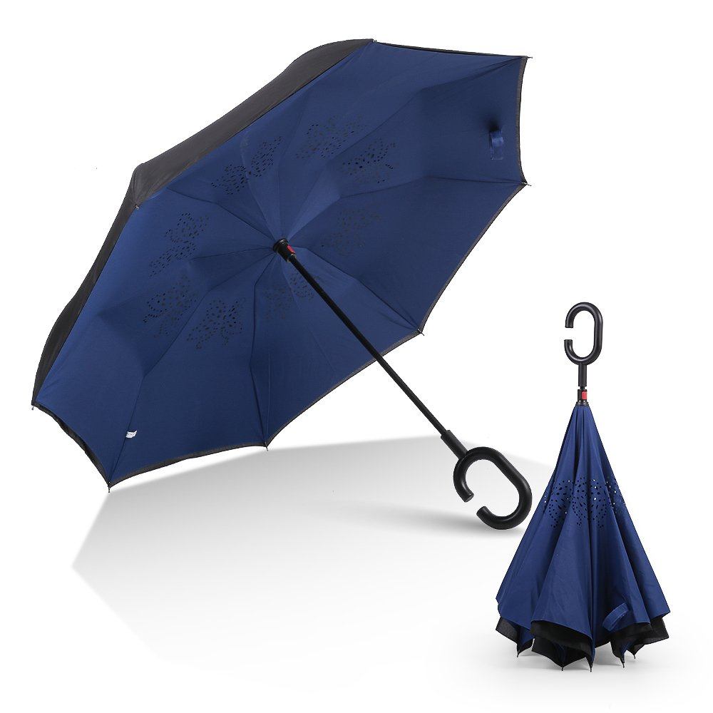 RUMBRELLA Inverted Double Layer Inside Out Windproof Umbrella, Large Self Standing Reverse Car Umbrellas with C Shaped Handle, Dark Blue