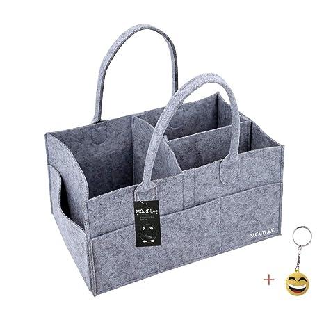 MCUILEE Cajas para pañales Nursery almacenamiento bin cesta de fieltro bolsa de organizador Basura pañales toallitas Bebé bolsa de almacenamiento ...