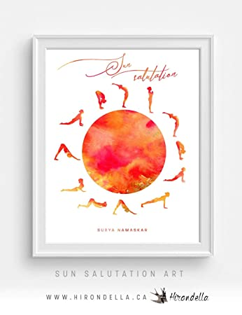 Sun Salutation Meditation and Yoga Poster for Studio Decor, Surya Namaskar, Spiritual Gifts, Yoga Pose Wall Art Print, Yoga Art for Home Frame