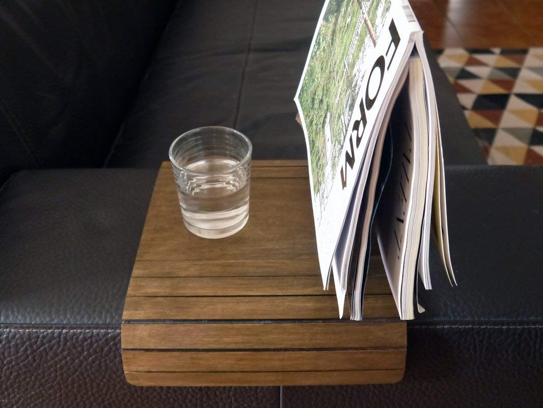 Amazon.com: Slinky Wooden Sofa Arm Cover With Magazine Stand In Dark Walnut Sofa Armrest Small Flexible Over The Tables Narrow Folding Dining Slinky Tray Armchair Trays Server Slim Wrap Covers: Handmade