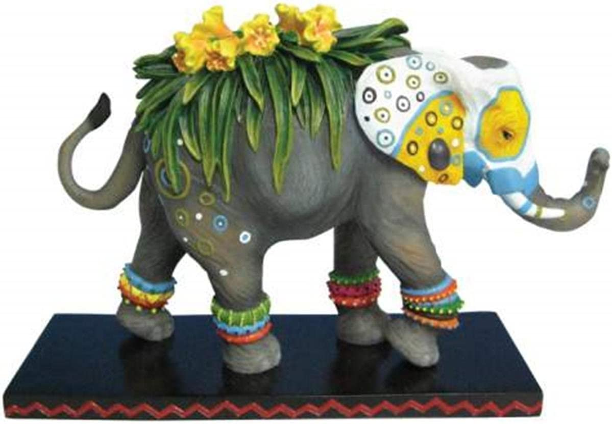 "Westland Giftware Tusk Elephants Painted Flower Decorated 6"" Hand-Painted Resin Elephant Figurine"