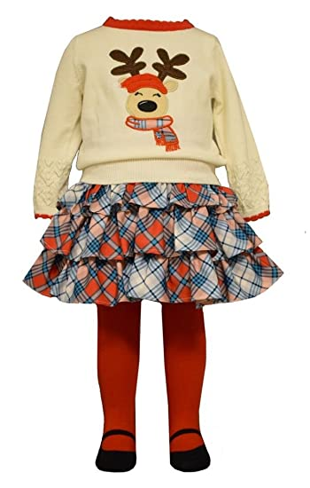 3cf6d523a6 Bonnie Jean Baby Girls 3-Pc Christmas Reindeer Sweater Set Skirt Leggings