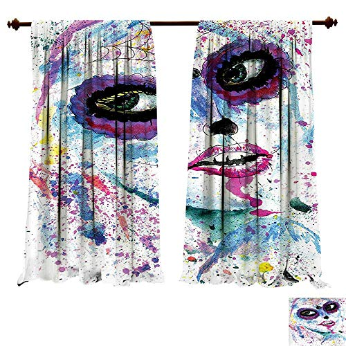 fengruiyanjing-Home Thermal Insulating Blackout Curtain Grunge Halloween Lady Sugar Skull Make Up Creepy Dead Face Woman Artsy Print Blue Patterned Drape Glass Door (W96 x L96 -Inch 2 Panels)