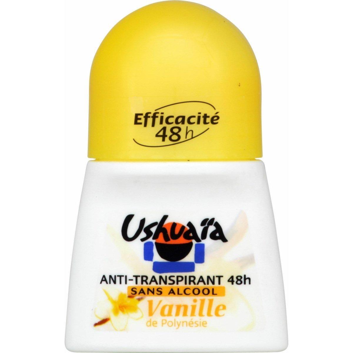 Ushuaïa – Déodorant Femme Bille Parfum Vanille De Polynésie Efficacité 48h – 50 ml – Pack of 2