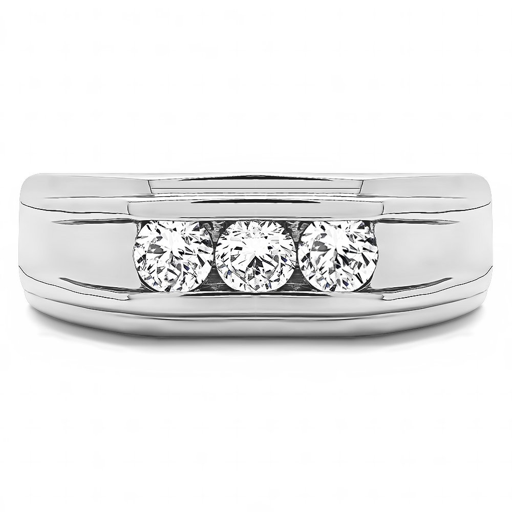 Size 3 To 15 in 1//4 Size Intervals 0.75Ct Sterling Silver Mens Wedding Band White Sapphire
