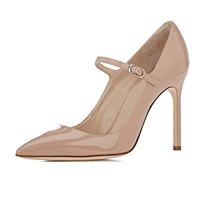 Sammitop Women s Pointed Toe Mary Jane Pumps High Heel Shoe with Ankle Strap  Beige US5