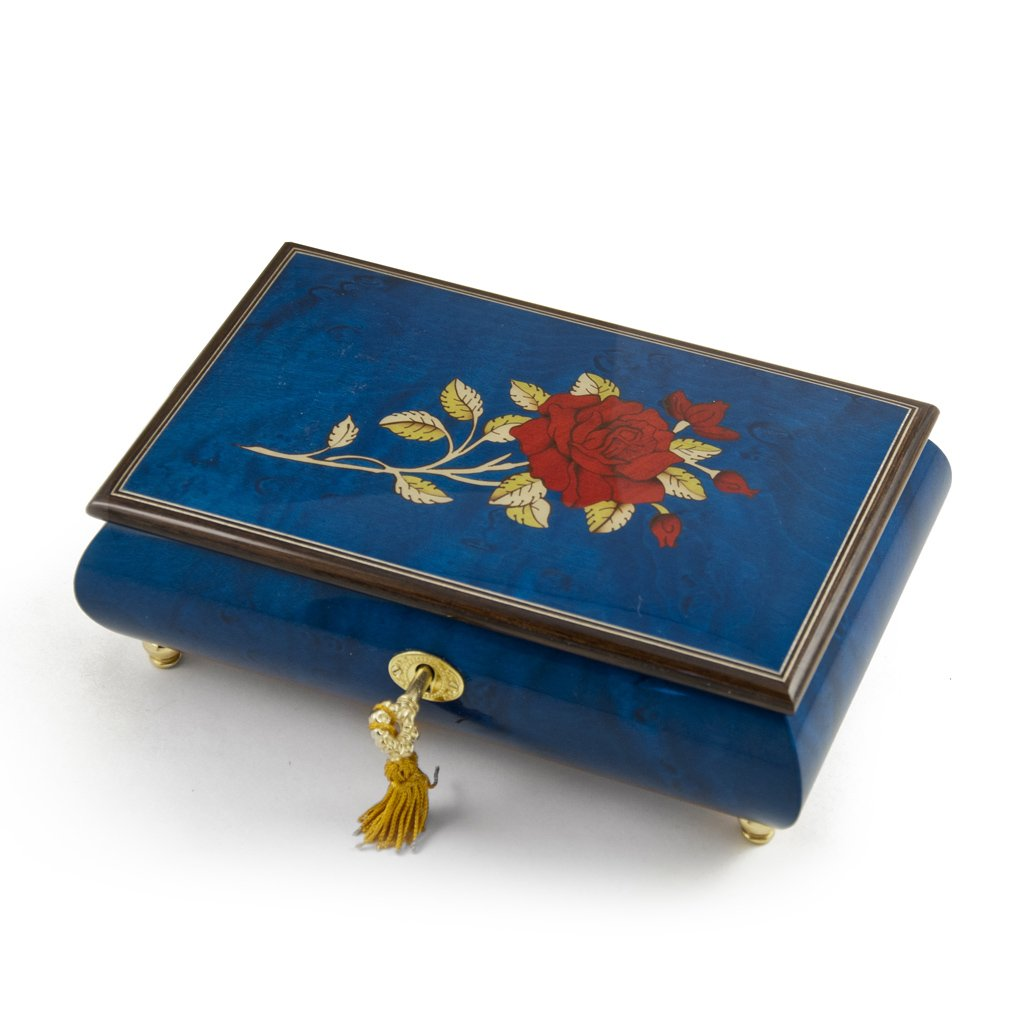 Radiant Royal Blue Italian Musical Jewelry Box with Red Rose Inlay - Over 400 Song Choices - All I Ask of You