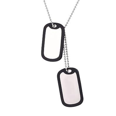 1ff80153f76 U7 Collier Pendentif Dog Tag 2 Plaques Militaires Chaîne Boule 60cm Bijoux  Homme Femme Unisexe Necklace