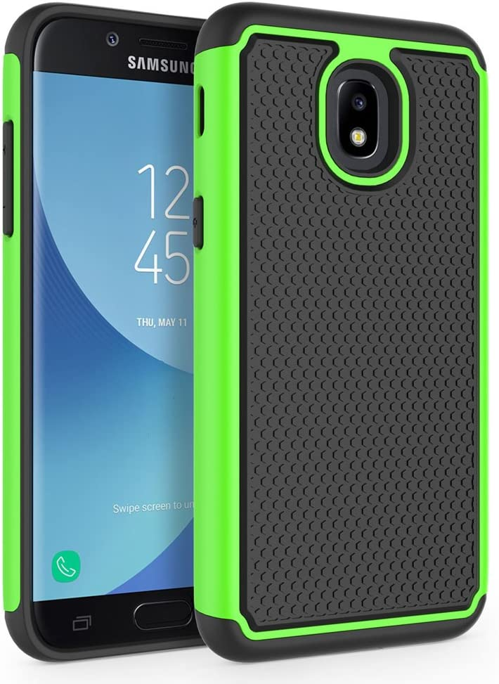 SYONER Shockproof Phone Case Cover for Samsung Galaxy J3 2018 / J3 V 3rd Gen / J3V 2018 / J3 Orbit / J3 Star / J3 Achieve/Express Prime 3 / Amp Prime 3 / J3 Eclipse 2 / Sol 3 / J3 Aura [Green]