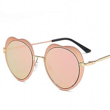 Mode Sonnenbrille Pfirsich Herz Runden Sonnenbrille Personalisierte Sonnenbrille Schwarzer Rahmen Schwarz Grau Linse QCW0L