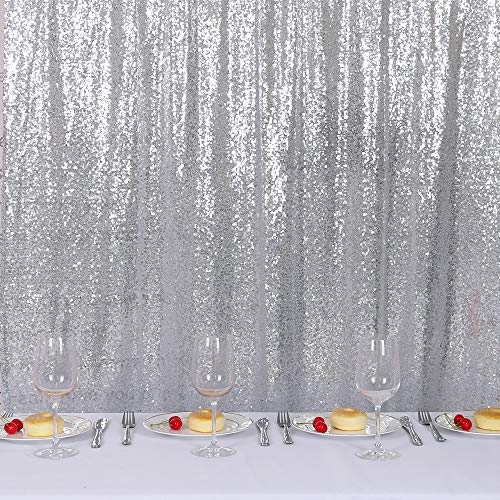 TRLYC 20 Ft X 10 Ft Silver Sequins Backdrop Curtain by TRLYC (Image #2)