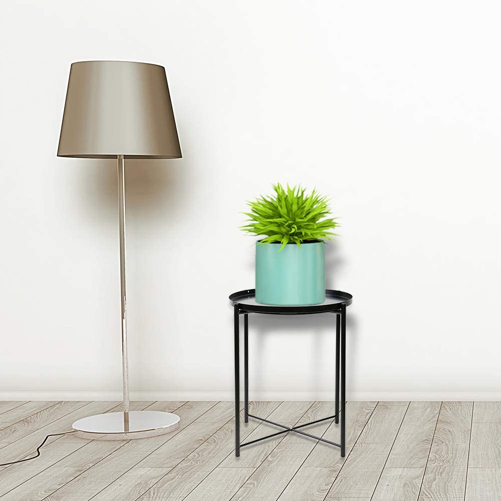 Dark green YX-lle Home Coffee Table Bedside Table Side Round Table Small Metal Nightstand Sofa table Snack End Table Coffee Table for Living Room Bedroom with 44cm Detachable Tray Top