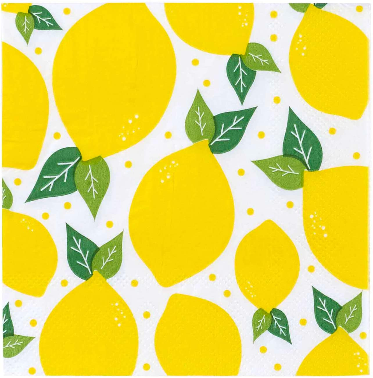 X&O Paper Goods Yellow Lemons Paper Cocktail Napkins, 20pc, 5.5'' x 5.5''