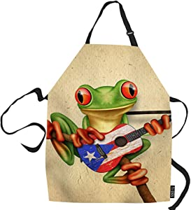 SSOIU Frog Cooking Apron, Tree Frog Playing Puerto Rico Flag Guitar Kitchen Apron for Baking/BBQ Men Women Unisex Waterproof 31X27 Inches