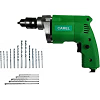 CAMEL BRAND 10 mm Drill Machine with 13 Pieces HSS Metal +5 PCS MASNORY Wall BIT Sets