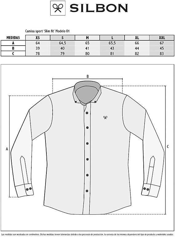 SILBON - Camisa Sport Raya Clasica Azul para Hombre: Amazon ...
