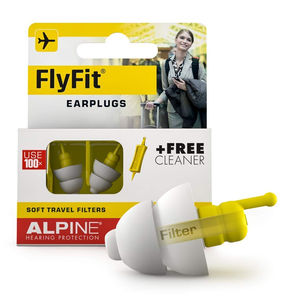 Alpine FlyFit Ear Plugs – Airplane hygenitic Ear Plugs – Pressure Regulating Reusable Ear Plugs Prevent Ear Pain - Soft Travel Ear Plugs – Sleep or Chat with The Hypoallergenic No Silicone Earplugs