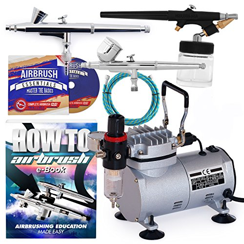 (PointZero Airbrush Dual Action Airbrush Kit with 3 Guns)