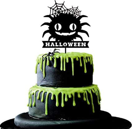 Enjoyable Amazon Com Jevenis Big Spider Halloween Cake Topper Halloween Personalised Birthday Cards Beptaeletsinfo