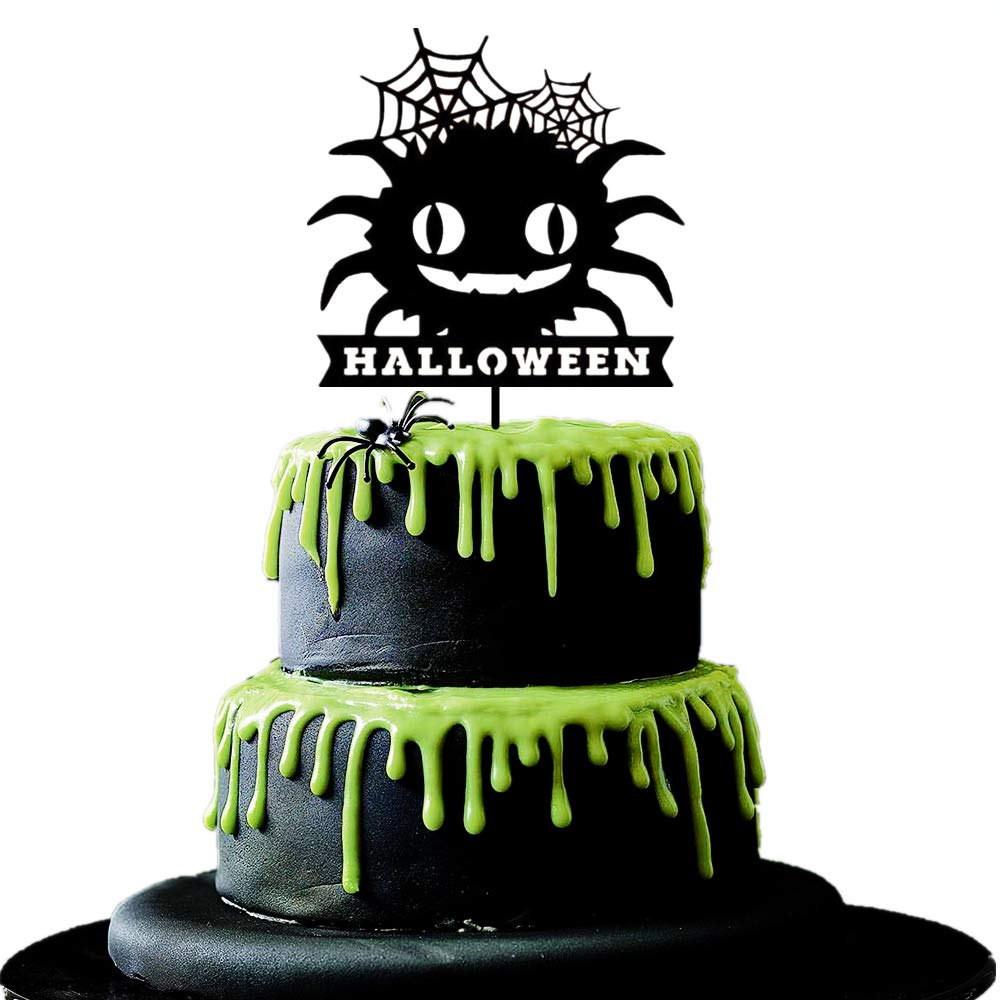 Amazon Com Jevenis Big Spider Halloween Cake Topper