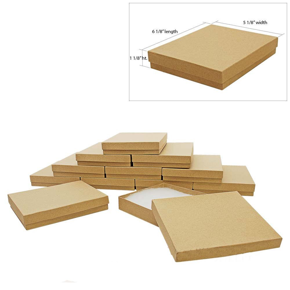 The Display Guys Pack of 25 Kraft 6 1/8x5 1/8x1 1/8 inches Cotton Filled Paper Jewelry Box Gift Display Case (#65)