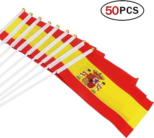 Naisidier Bandera de España de 5, 5 x 8, 3 pulgadas, pequeña bandera de mano de 50 piezas Mini bandera de España: Amazon.es: Jardín